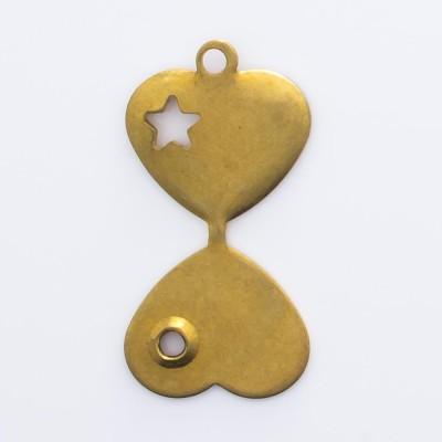 Detalhes do produto Coração dobrável com estrela e argola 12,25mmx11,35mm