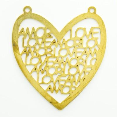 Detalhes do produto Pingente coração com 2 argolinhas 33,42mmx30,25mm