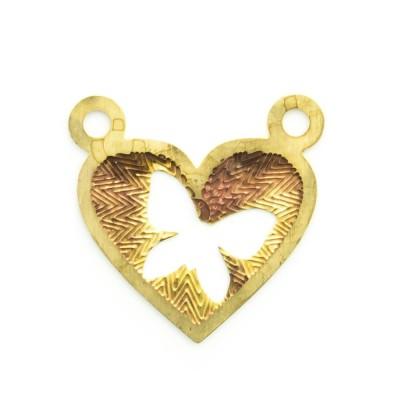 Detalhes do produto Pingente coração vazado com 2 argolinhas 14,37mmx14,83mm