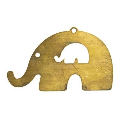 Detalhes do produto Pingente Elefante vazado 21,00mmx34,89mm