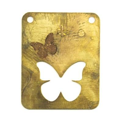 Detalhes do produto Retângulo vazado com borboletas e 2 furos 23,86mmx19,40mm