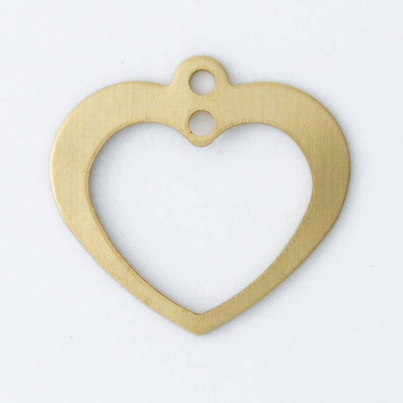 Coração com 2 furos 13,20mmx14,10mm