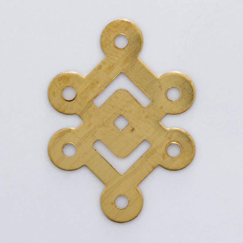 Losango duplo com 6 argolas 22,58mmx16,34mm