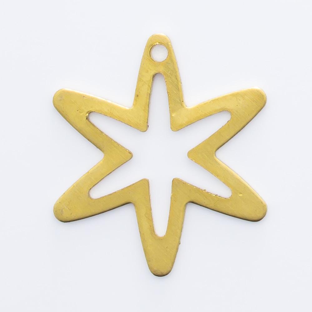 Estrela vazada com furo 16,59mmx14,63mm