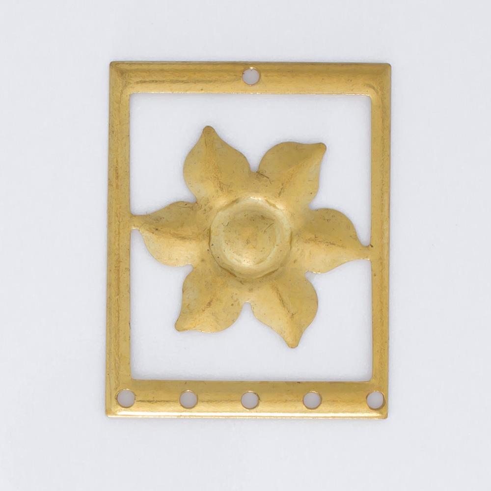 Retângulo com flor e 6 furos 25,35mmx20,08mm