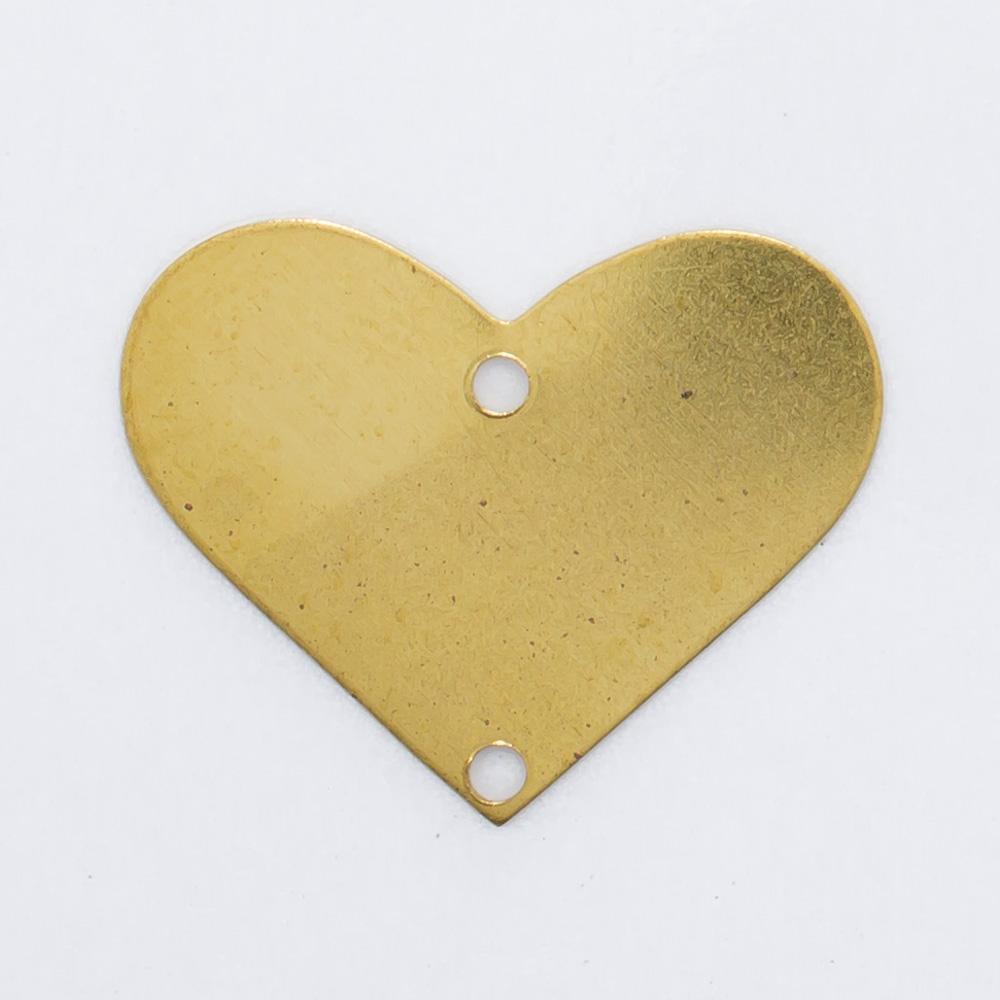 Coração com 2 furos 15,89mmx20,12mm