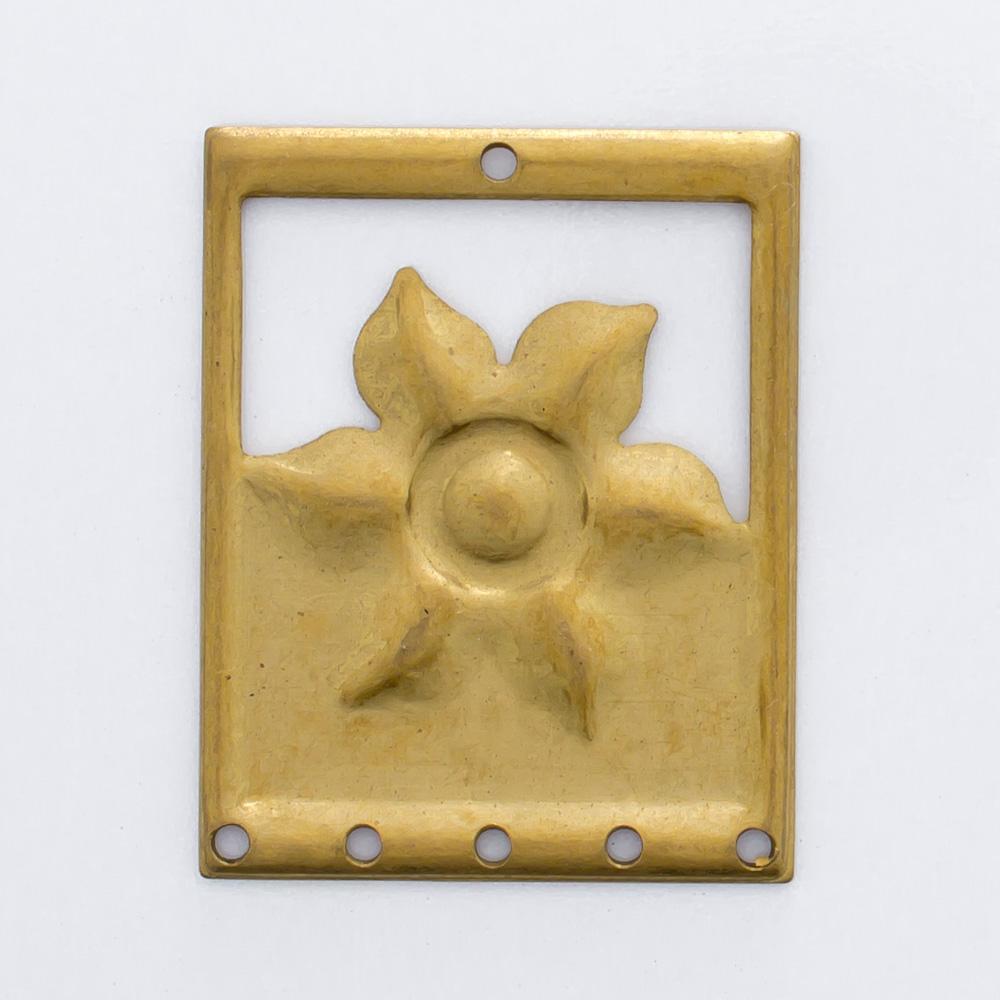 Retângulo com flor e 6 furos 25,31mmx20,02mm