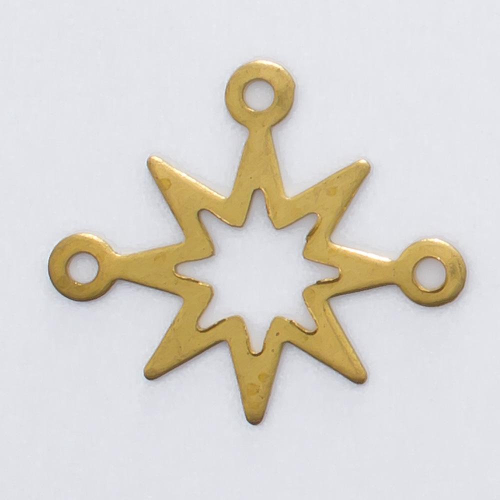 Estrela 8 pontas com 3 argolas 14,07mmx16,15mm
