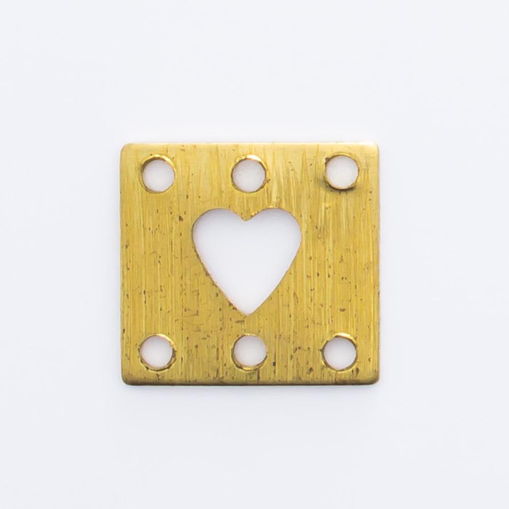 Retângulo com coração vazado e 6 furos 9,07mmx9,65mm
