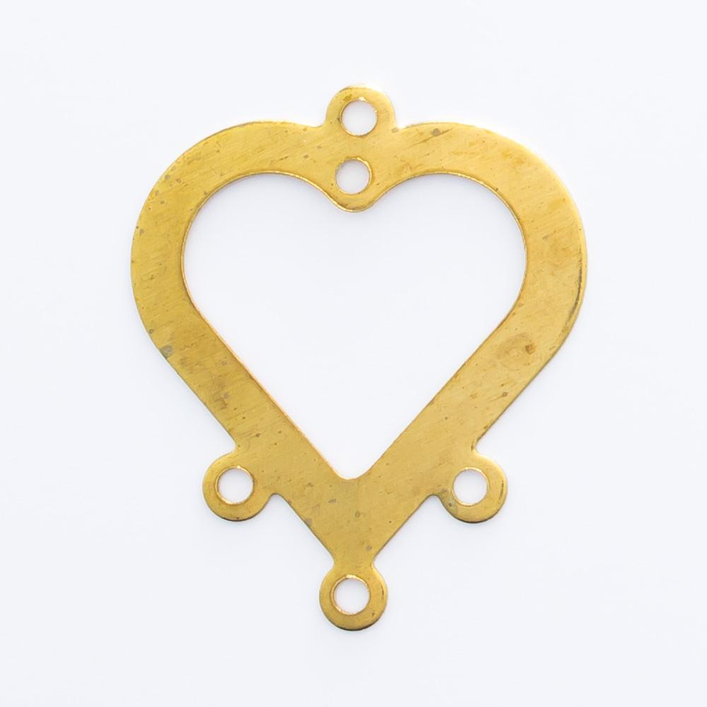 Coração com 4 argolas e 1 furo 18,99mmx16,02mm