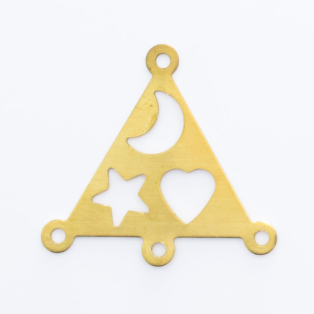 Triângulo vazado com 4 argolas 18,01mmmx19,19mm