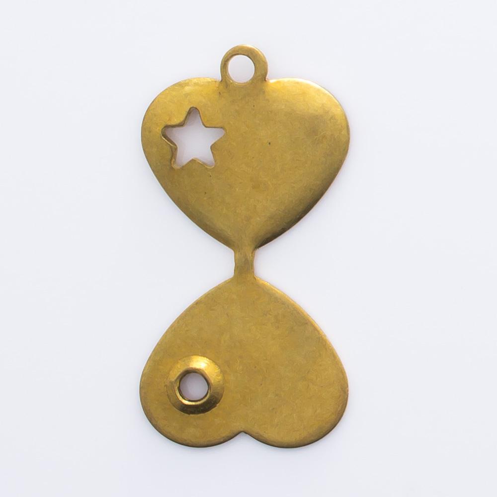 Coração dobrável com estrela e argola 12,25mmx11,35mm