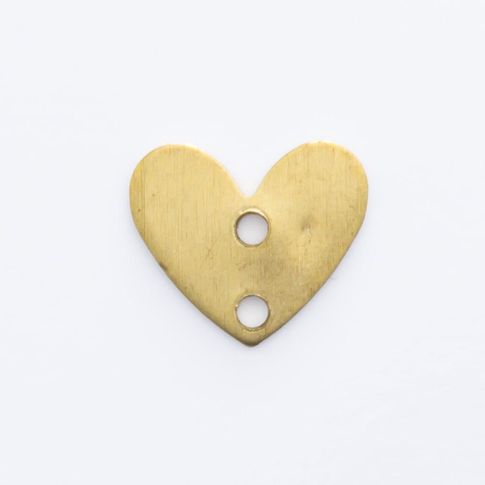 Coração com 2 furos 6,50mmx7,60mm