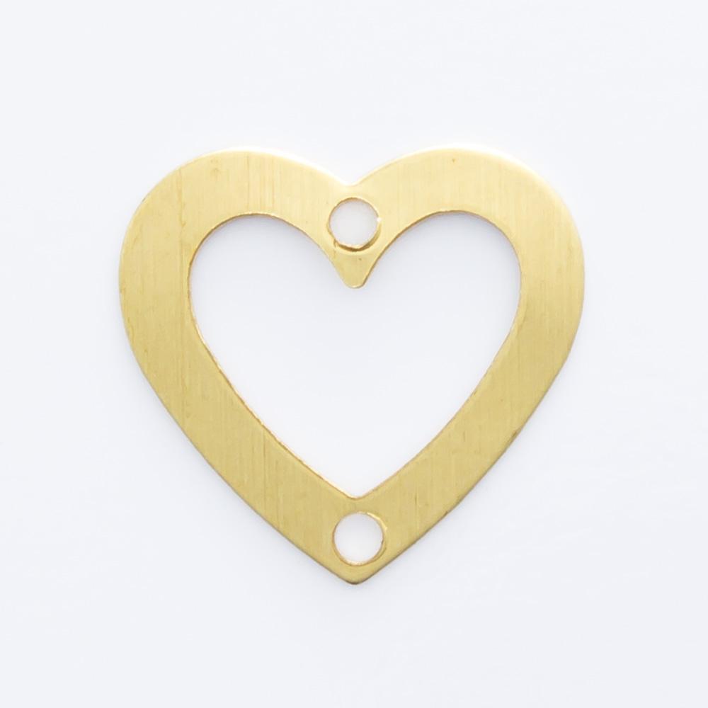 Coração vazado com 2 furos 10,00mmx10,60mm