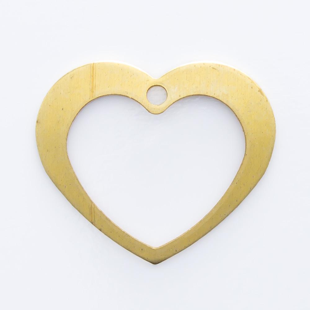 Coração vazado com furo 12,00mmx14,20mm