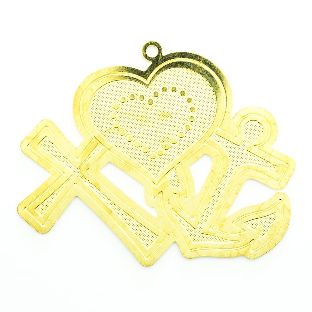 Pingente Cruz, coração e âncora 32,32mmx39,49mm