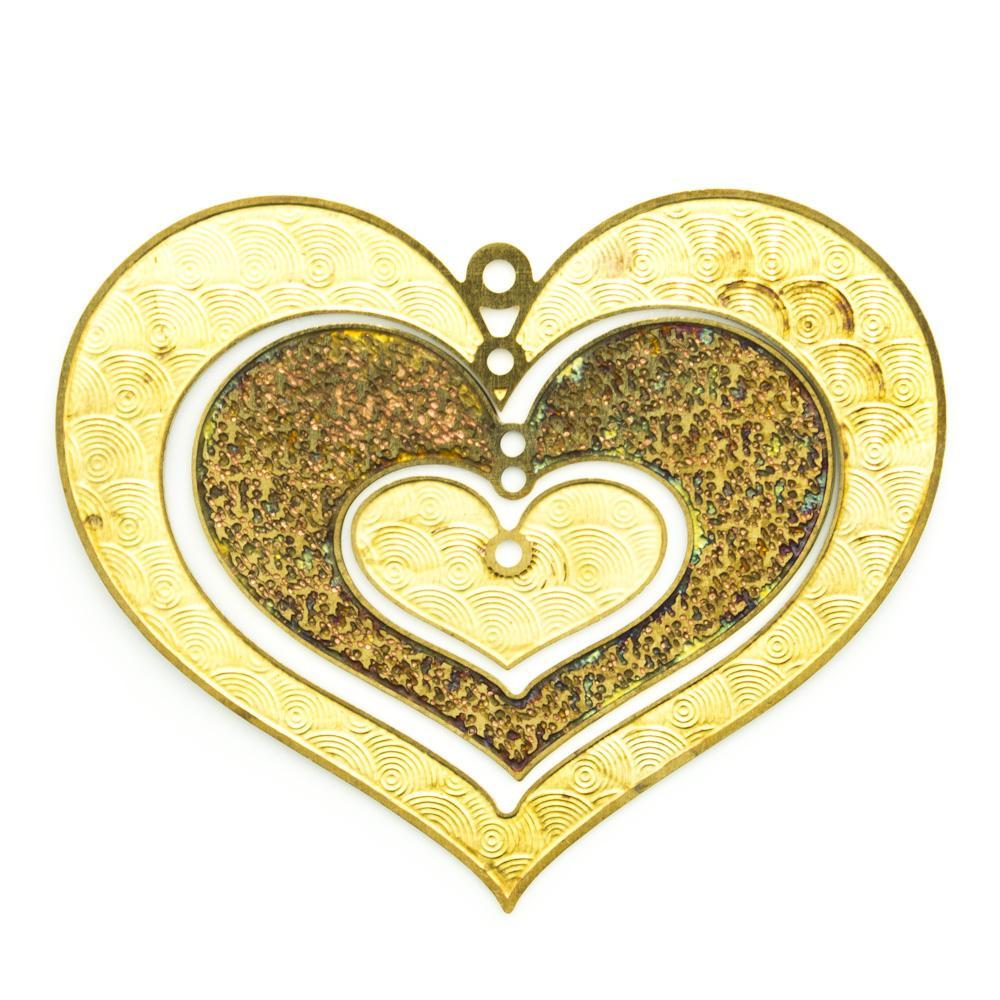 Três corações com furo e argolinha
