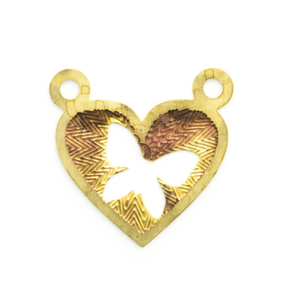 Pingente coração vazado com 2 argolinhas 14,37mmx14,83mm
