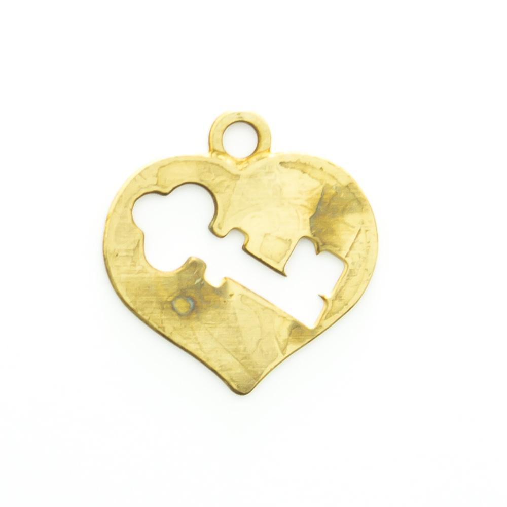 Pingente coração vazado com chave 11,55mmx11,12mm