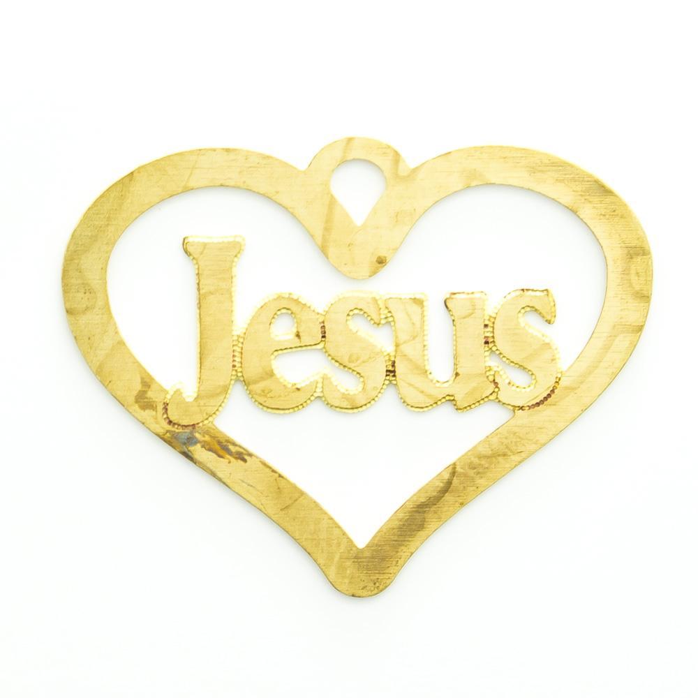 Coração vazado escrito Jesus 18,52mmx23,80mm