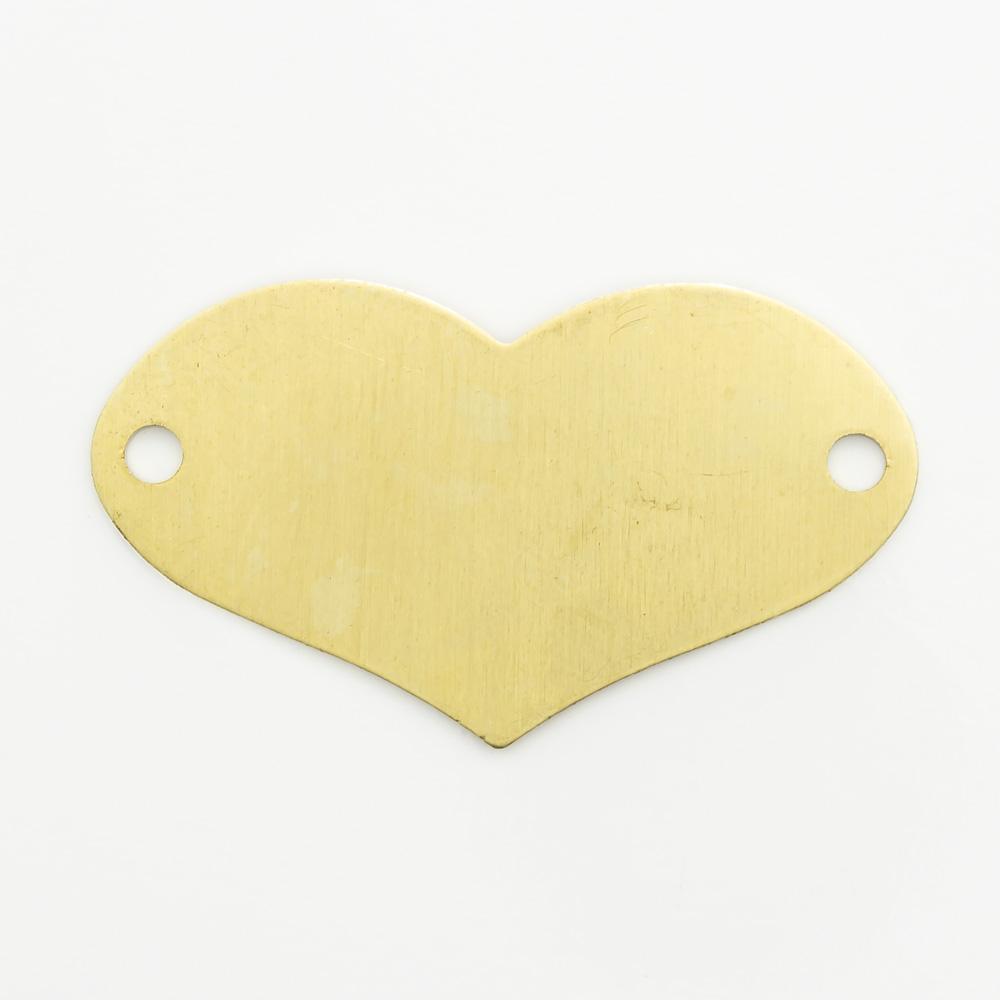 Coração com 2 furos 15,96mmx28,35mm